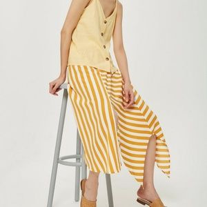 Topshop Asymmetrical Striped Button Up Skirt